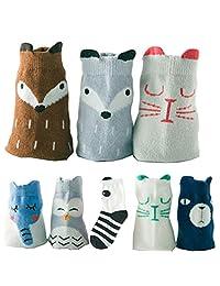 Lucky staryuan ® 8 Pairs Boys Girls Socks Cartoon Cotton Kids Children Sock