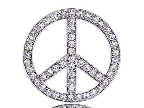 Hippie Peace Sign Jewelry Set (Alilang Silvery Tone Clear Crystal Colored Rhinestones Hippie Peace Sign Brooch Pin)