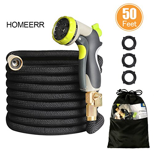 Extra Strength Metal (HOMEERR 50ft Garden Hose Expandable Leak-proof Water Hose with Double Latex Core, 3/4 Solid Brass Fittings, Extra Strength Fabric with Metal 8 Function Spray Nozzle for Garden Watering Car Washing)