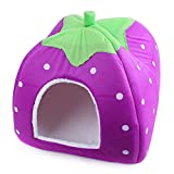 EasGear Lovely Strawberry Soft Cotton Pet Bed Cute Dog Cat Nest Foldable Pet House (L, Purple)