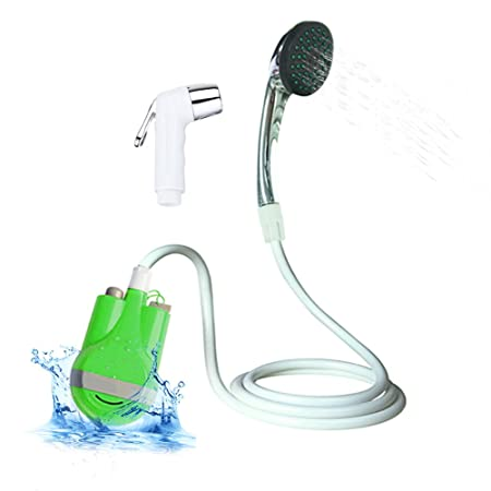 Portable Outdoor Shower, Pumps Water from Bucket Into Steady Shower Stream,Compact Handheld Rechargeable Camping Showerhead,Pumps Water from Bucket Into Steady, Gentle Shower Stream,USB Charging Plug