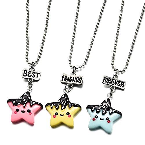 3 Packs Best Friends Forever Kids Children Resin Pendant Necklace (Star)