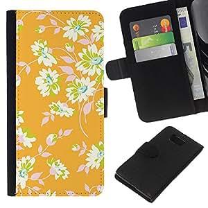 KLONGSHOP // Tirón de la caja Cartera de cuero con ranuras para tarjetas - Papel pintado floral verde deja - Samsung ALPHA G850 //