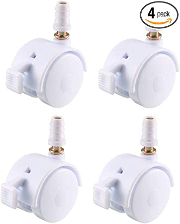 uxcell 1.5 Inch Swivel Caster Wheels Grip Neck Stem Caster White Furniture Wheel with Brake and Mounting Socket