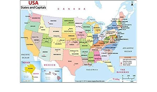 A Map Of The United States Of America.Amazon Com Us States And Capitals Map Office Products