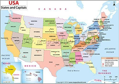 Amazon.: US States and Capitals Map : Office Products