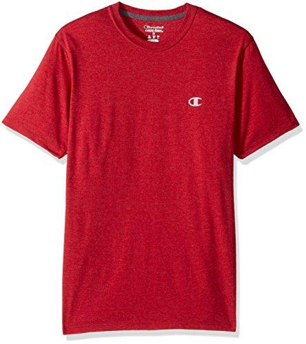 Champion Men's Double Dry Cotton Crew-Neck Shirt, Carmine Red Heather, X Large ()