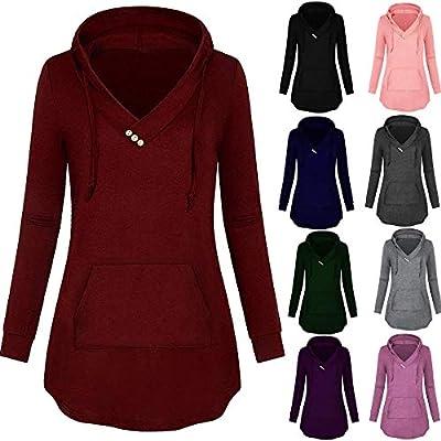 PLENTOP Women V- Neck Button Lightweight Pullover Hooded Sweatshirt with Pocket Blouse