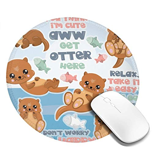 Shushubiaodian Happy Otter Cartoon 1 Pac 2Pac 4Pac Mouse Pad,Round Mouse Mat, Cute Mouse Pad with Design,Non-Slip Rubber Base Mousepad with Stitched Edge, Waterproof Office Mouse Padsmall(8x8 Inch)]()