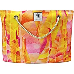 "Sea By Day UV / Water Resistant Premium Classic Beach Bag (23"" x 16"") Kelp Sorbet"