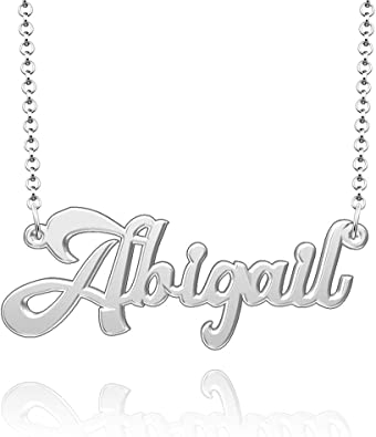 Personalised Any Name Necklace Stainless Steel Nameplate Pendant Holly