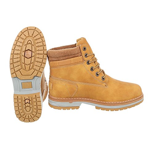 Schuhcity24 Damen Schuhe Stiefeletten Schnürer Boots Camel