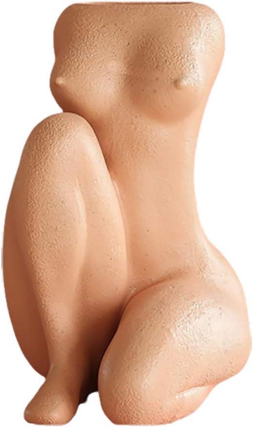 Amazon Com Body Art Vase Nude Female Sculpture Vase Figurine Resin Woman Head Decoration Crafts Sculpture Home Decoration Accessories Orange Body Kitchen Dining