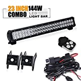 """TURBO SII 23"""" Inch Led Light Bar 144w Flood And Spot Combo Beam Offroad Work Light for Van Camper Wagon Pickup ATV UTE SUV Boat 4x4 Jeep Front Bumper Grill Mount with1Lead Remote Control Wiring Harness Kit"""