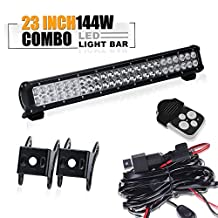 """TURBO SII Osram 23"""" Inch Led Light Bar 144w Flood And Spot Combo Beam Offroad Work Light for Van Camper Wagon Pickup ATV UTE SUV Boat 4x4 Jeep Front Bumper Grill Mount with1Lead Remote Control Wiring Harness Kit"""