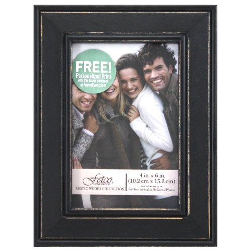 Fetco Home Décor Longwood Picture Frame in Rustic Woods, 4 by 6-Inch, Rustic Black