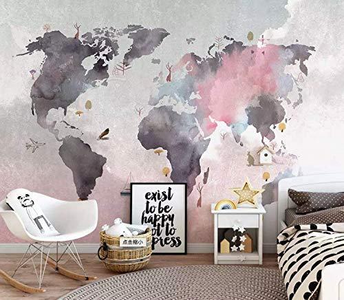 Amazoncom Murwall Map Wallpaper Pink Gray World Map Wall