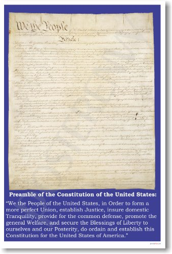 American Government: The Preamble of the Constitution - Classroom Poster