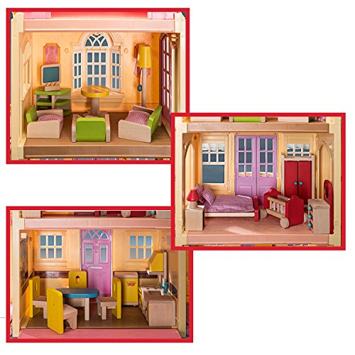 Review Wooden Dollhouse Furniture Bundle: