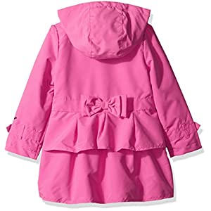 London Fog Little Girls' Ruffle Bottom Trench Coat with Removeable Hood, Pink, 5/6