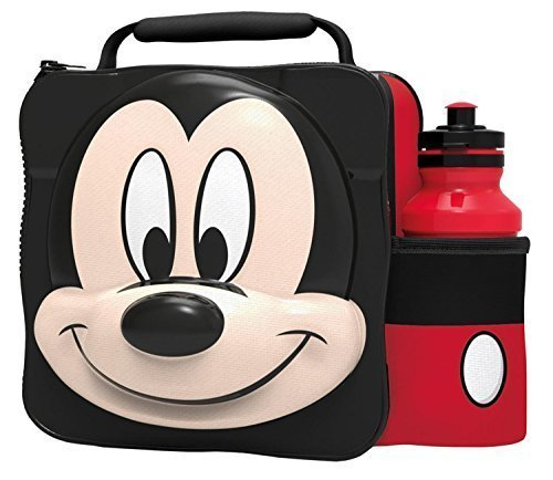 MICKEY MOUSE Kids Children 3D Lunch Box Bag With Sport Water Bottle