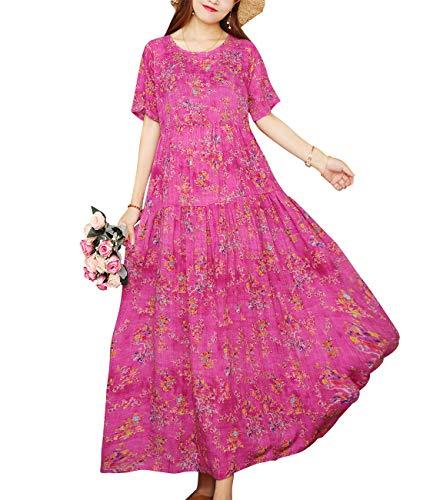 YESNO Women Casual Loose Long Maxi Bohemian Floral Dress Layered Lightweight Summer Beach Short Sleeve Swing Dress/Pockets EJF (Best Flowers For April Wedding)