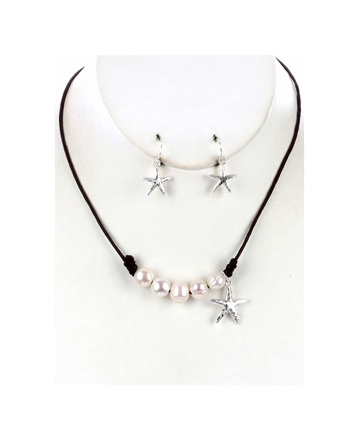 Metal Starfish Charm Necklace And Earring Set Pearl Bib With Matte Finish