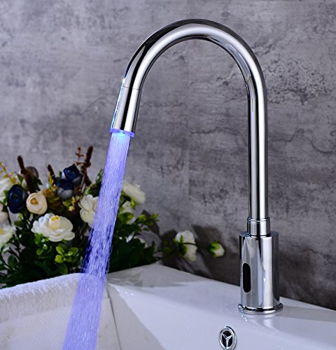 Gangang Led Kitchen Touch Free Automatic Sensor Sink Faucet with Temperature Control Handle Chrome Single Hole Straight Spout Bar Faucet Lavatory Plumbing Fixtures Bathtub Mixer Taps - Chrome Single Control Kitchen Sink