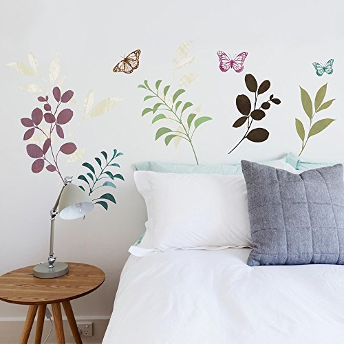 (RoomMates Botanical Butterfly Peel and Stick Wall Decals, ,)