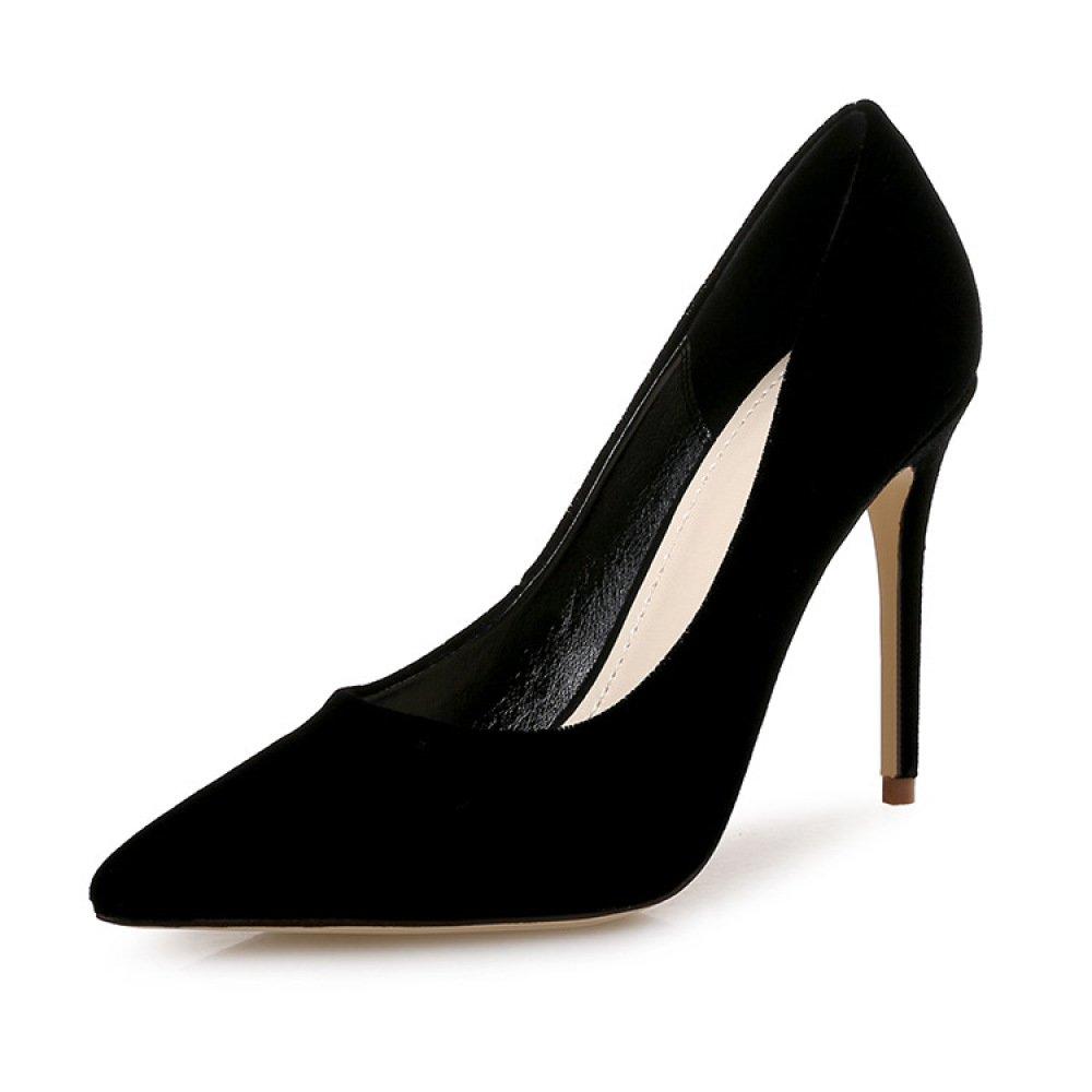 DKFJKI Chaussures B001949G88 Bouche de Bouche Peu Profonde Talons Fins en Velours Talons Super Hauts Mode Chaussures de Fête Black 189d2f5 - shopssong.space