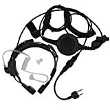 AOER Military Grade Tactical Throat Mic Headset/earpiece with BIG Finger PTT for Icom Radio 2-pin