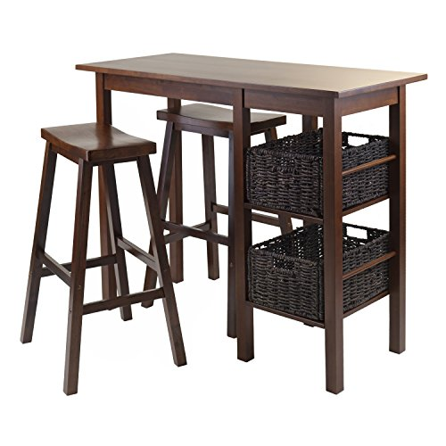 Winsome Wood Egan 5-Piece Breakfast Table with 2 Baskets and 2 Saddle Seat Stools (For Breakfast Table Two)