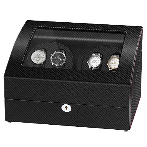 4 Watch Automatic - Sepano Automatic Watch Winder Collector II - Carbon Fiber Watch Winder 4+6 with Quiet Mabuchi Motor, Large Capacity 4 Watch Winder, One for All