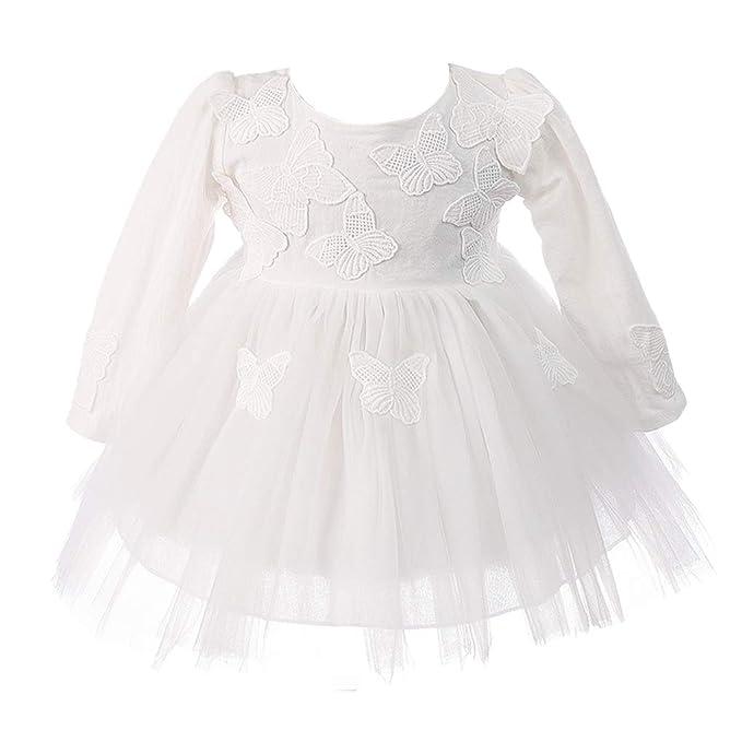Amazon.com: Vestido de bautizo bordado con mariposa de manga ...