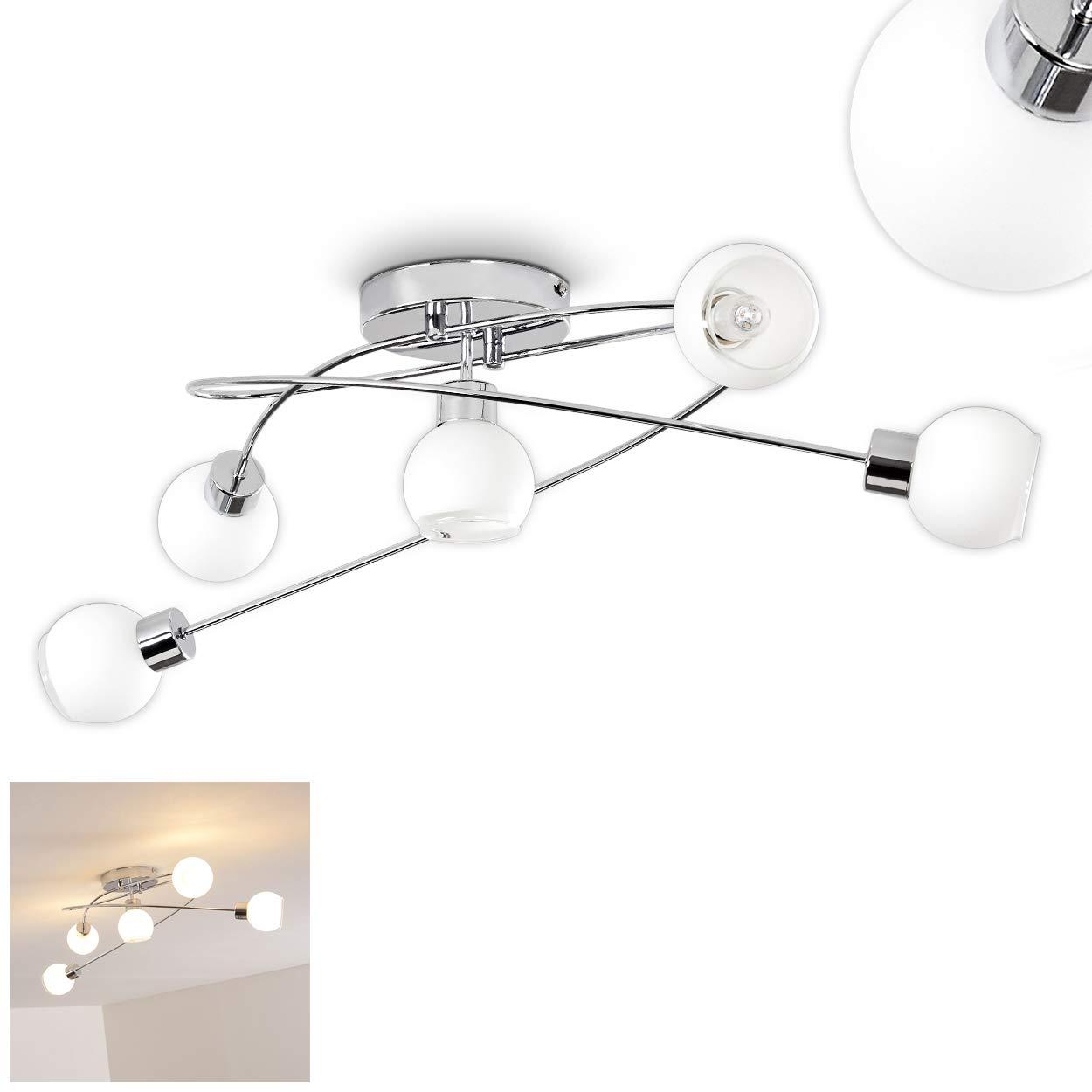 LED Deckenleuchte in Chrom, Deckenlampe 5-flammig, spiralförmig mit halboffenen 5 Leuchtkugeln aus Glas, 5 halboffenen x GU10-Fassung, max. 4 Watt, 320 Lumen, 3000 Kelvin (warmweiß) 0a59ea