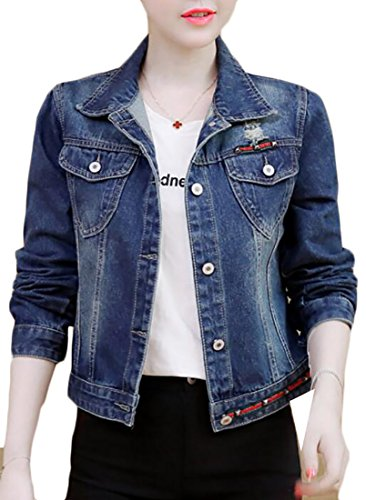 WSPLYSPJY Women's Fashion Classic Slim Fit Washed Blue Distressed Hole Denim Jacket Blue L ()