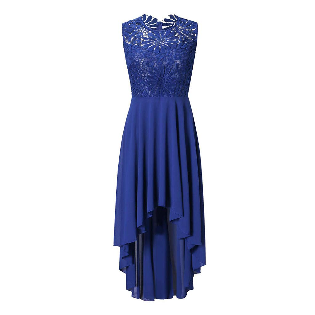 Mysky Women Popular Elegant Floral Lace Irregular Hem Pure Formal Wedding Dress Classic Sleeveless Slim Party Dress Blue