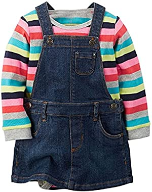 Baby Girls' 2-Piece Bodysuit & Denim Jumper Set