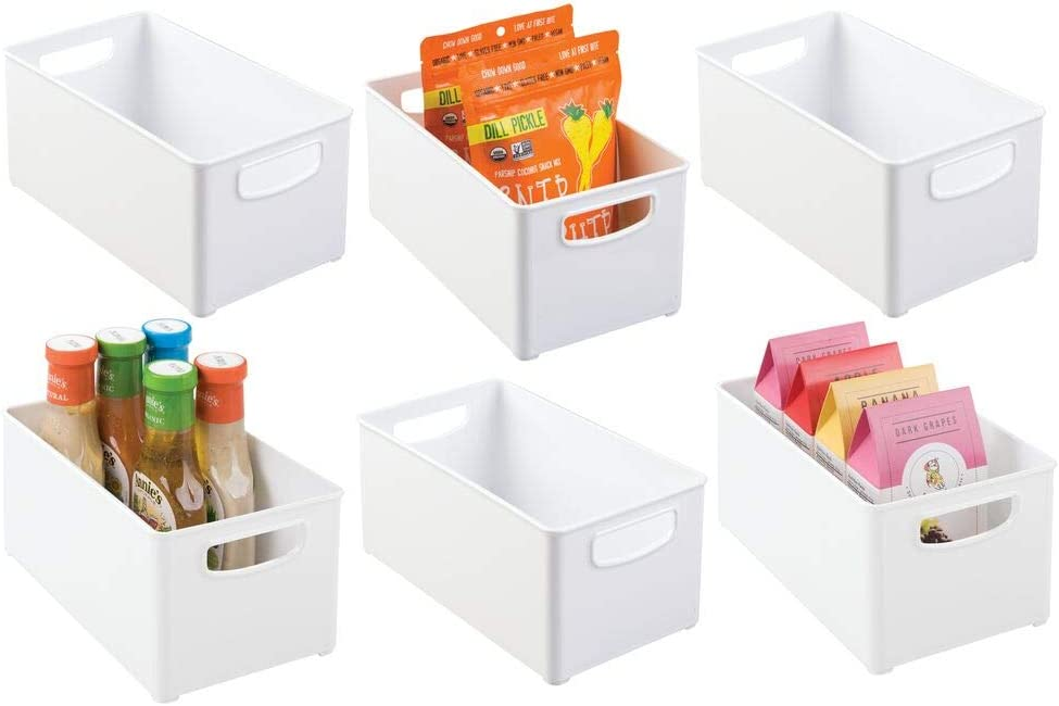 mDesign Plastic Stackable Kitchen Pantry Cabinet, Refrigerator or Freezer Food Storage Bin Container with Handles - Organizer for Fruit, Yogurt, Snacks, Pasta - BPA Free, 10