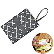 Portable Changing Pad - JJ OVCE A lightweight and reusable Best value changing pad,Leak proof and A fashion accessory and travel diaper changing pad rolled into one for infant and newborns (Grey)