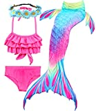 Camlinbo 3PCS Girls' Swimsuit Mermaid Tail for Swimming Tropical Bikini Masquerade Pool Party (Child XX-Large/10-12/Tag 150, Aurora Ruffled)