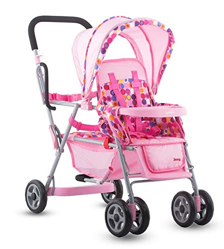 Accessories Doll Reborn (Joovy Toy Doll Caboose Tandem Stroller - Pink Dot)