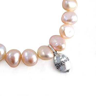 White Pearl Breast Cancer Awareness Bracelet,white pearl bracelet,silver awareness charm,breast cancer jewelry,breast cancer,bracelets