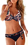 Upopby Women's Sexy Padded Push up Bikini Set Printed Bathing Suits Two Pieces Swimsuit Swimwear Geometry XL