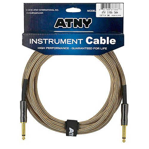 ATNY Braided Electric Guitar Cable - Professional Grade Musical Instrument Amplifier Cord with Nickel-Plated Dual Straight Plugs and Champagne Gold Tweed Jacket