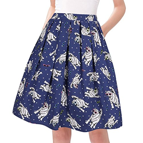 Taydey A-Line Pleated Vintage Skirts for Women (3XL, Cat)