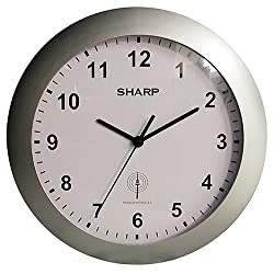Sharp SPC890 Quartz Analog Atomic Wall Clock SPC890, with Silver Case Convex Glass Lens and Sets Automatically