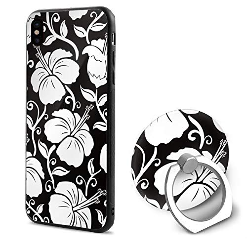 (LeYue iPhone Xs/X Case, Hawaii Floral Slim Fit Liquid Silicone Gel Rubber Shockproof Case Soft Cover +Finger Ring Holder Stand Grip Mount Kickstand for iPhone X/XS 5.8)