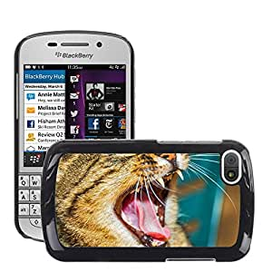 Super Stella Slim PC Hard Case Cover Skin Armor Shell Protection // M00104538 Cat Kitten Animal Feline Yawn Gape // BlackBerry Q10