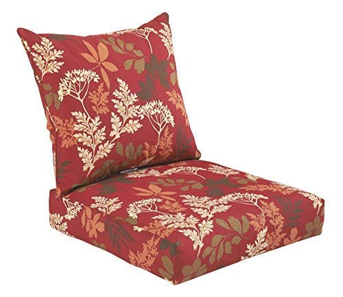- Bossima Indoor and Outdoor Cushion, Comfortable Deep Seat Design, Premium 24 inch Replacement Cushion, Includes Seat and Backrest, Red/Brown Floral